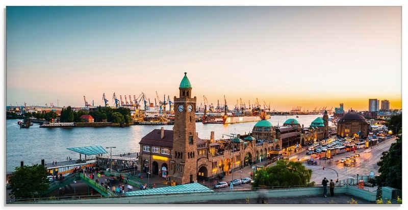 Artland Glasbild »Hamburg Hafen und Landungsbrücken«, Deutschland (1 Stück)