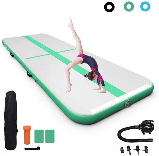 COSTWAY Trainingsmatte »Air Track Gymnastikmatte Tumbling Matte Turnmatte«, mit elektrischer Pumpe, aufblasbar, inkl. Tragetasche