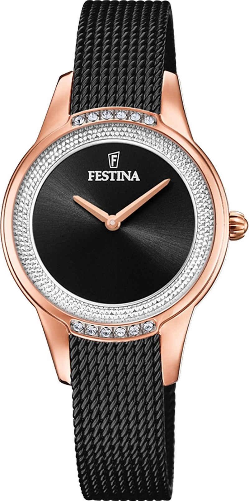 Festina Quarzuhr »UF20496/2 Festina Damen Uhr F20496/2 Edelstahlband«, (Analoguhr), Damen Armbanduhr rund, Edelstahlarmband schwarz, Elegant