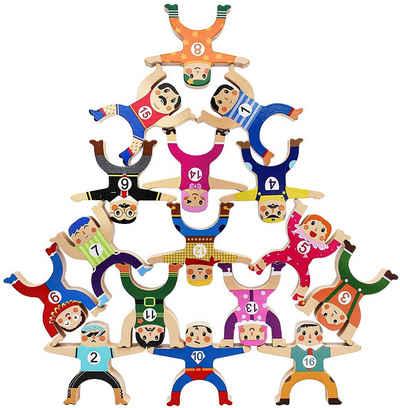 BeebeeRun Stapelspielzeug »Stapelspiel Hercules«, (16-tlg), Lernspielzeug aus Holz für Kleinkinder ab 3 4 5 Jahren