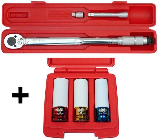 FAMEX Sparset: Drehmomentschlüssel-Set , 30-210 Nm, mit Spezial-Radmutterneinsätzen