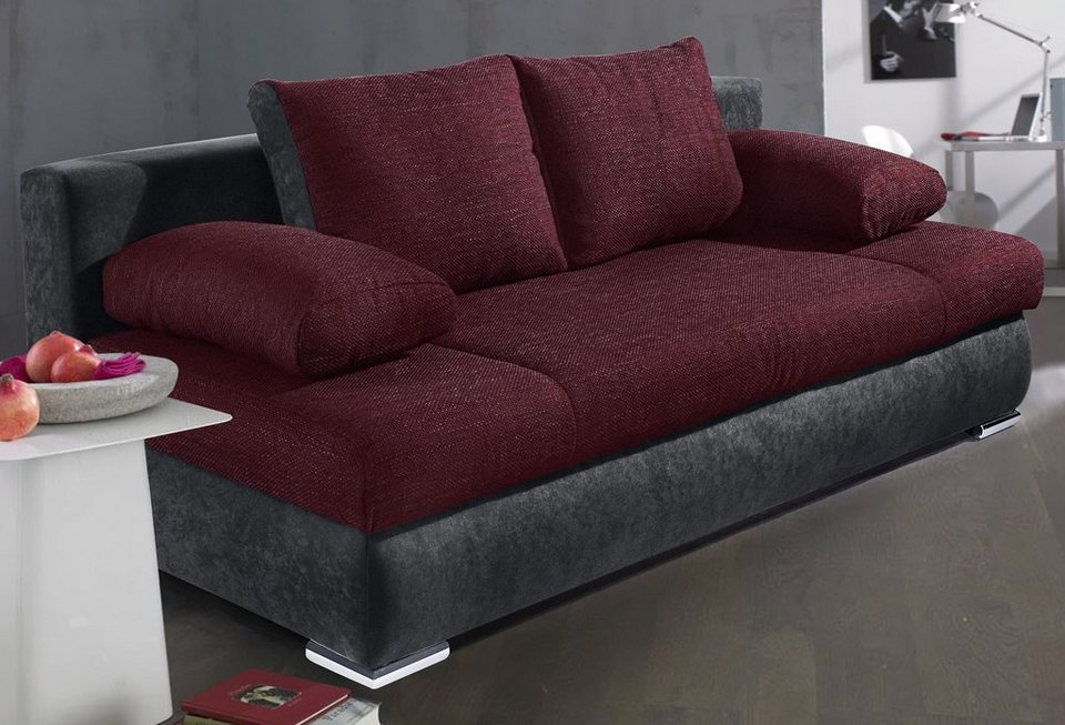 Collection AB Schlafsofa, wahlweise mit Federkern in anthrazit/violett