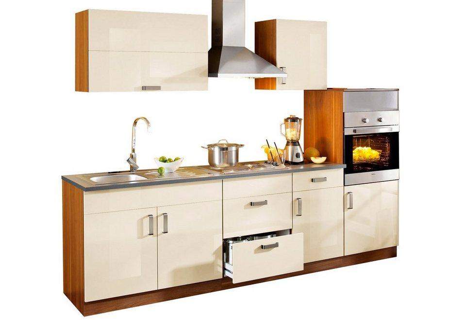 Küchenzeile »Reno«, 270 cm breit, mit Edelstahl-Kochmulde in Vanille