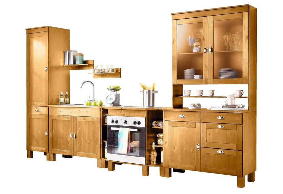 Home affaire Küchen-Set »Oslo«, (7-tlg), ohne E-Geräte, aus massiver  Kiefer, 23 mm starke Arbeitsplatte online kaufen | OTTO