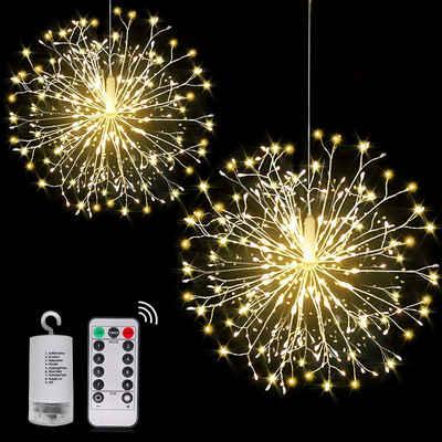 Rosnek LED-Lichterkette »Feuerwerk,Wasserdicht,Batterie,Haus Garten Weihnachtsdeko«, Timer