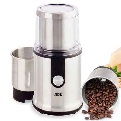 ADE Kaffeemühle elektrische Multifunktions-Gewürzmühle KA1805, 300 W, Schlagmahlwerk, Zerkleinerer, Schlagmahlwerk, 2 Mahlbehälter mit exrtrascharfen Klingen