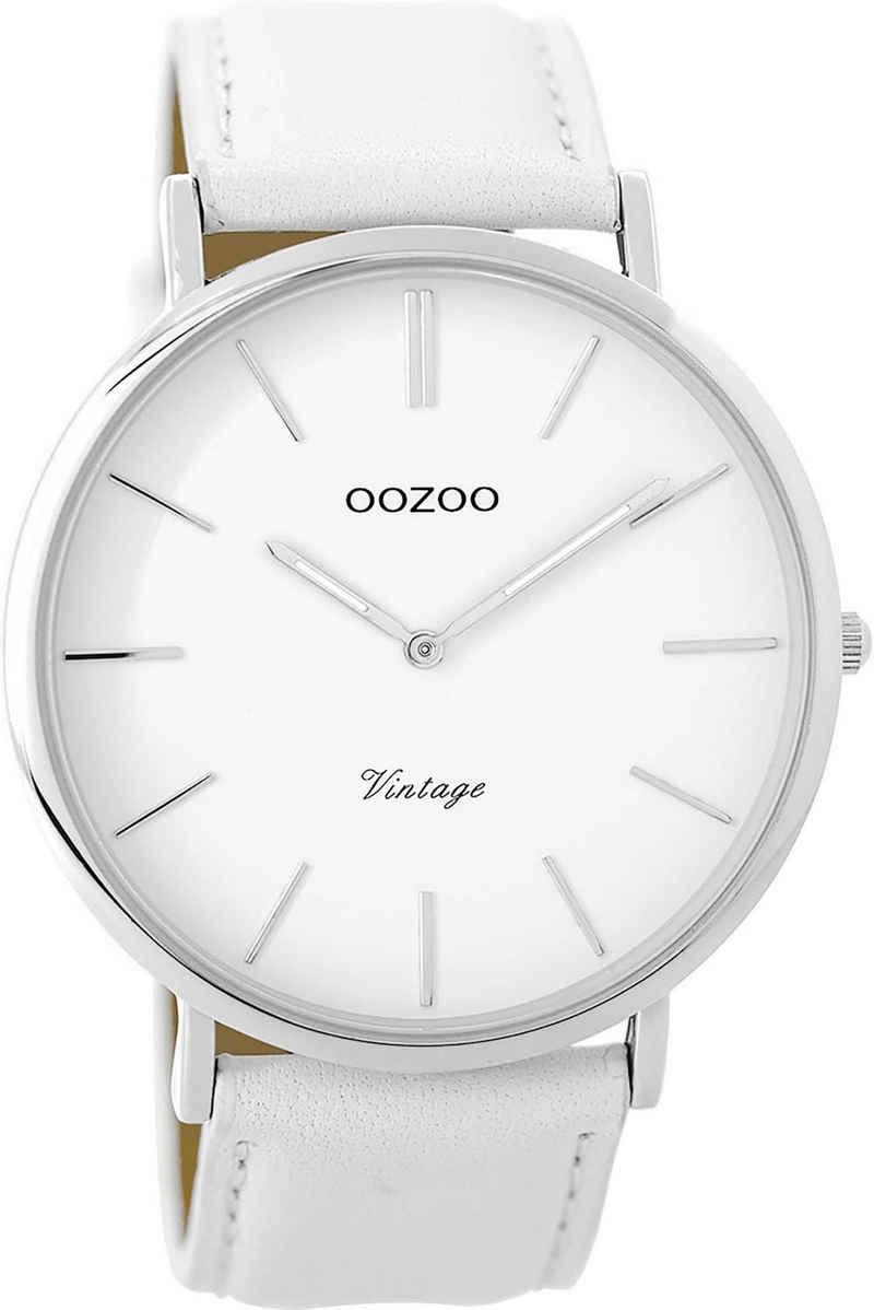 OOZOO Quarzuhr »UOC9310 Oozoo Damen Armbanduhr weiß Analog C9310«, (Analoguhr), Damenuhr rund, groß (ca. 45mm), Edelstahl, Lederarmband, Fashion-Style