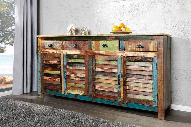 riess-ambiente Sideboard »JAKARTA 160cm bunt«, recyceltes Massivholz · Anrichte · mit 4 Schubladen · Kommode · Wohnzimmer