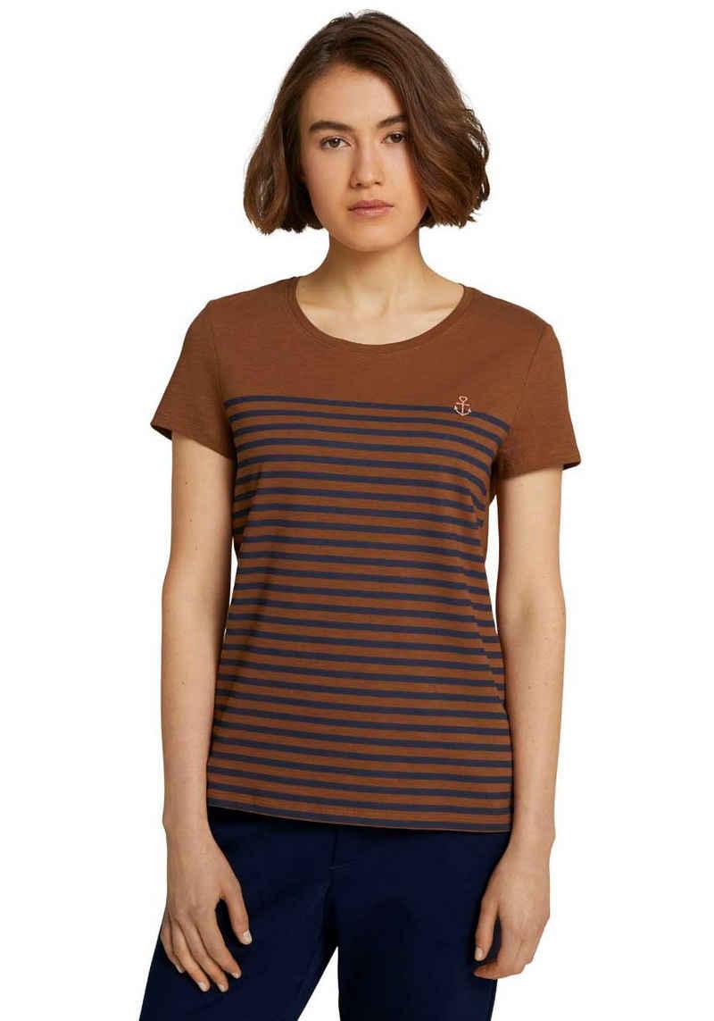 TOM TAILOR Denim T-Shirt mit kleiner Stickerei