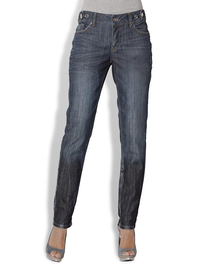 Boyfriend-Jeans in blau