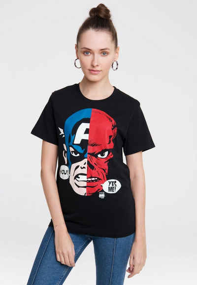 LOGOSHIRT T-Shirt »Captain America And Red Skull Faces« mit coolem Frontprint