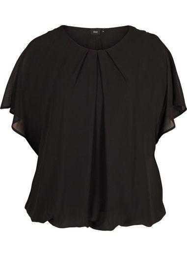 Zizzi Kurzarmbluse Große Größen Damen Chiffon Bluse mit Fledermausärmeln