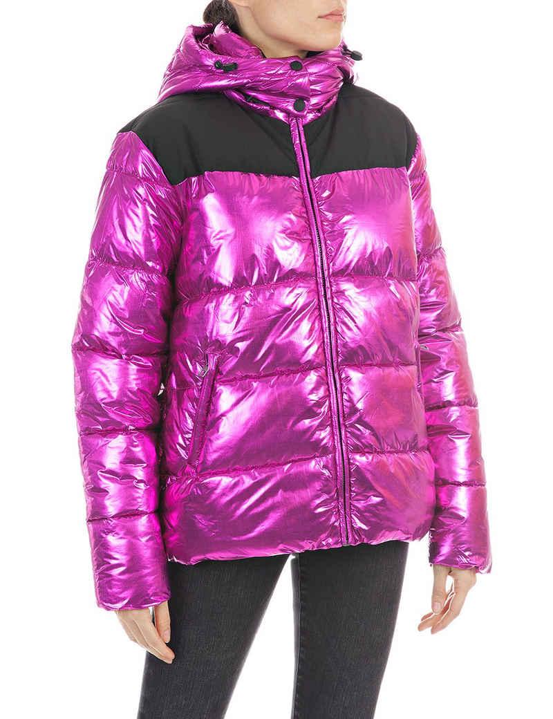 Replay Outdoorjacke coole Puffer-Jacke in Metallic-Optik& Logoprint