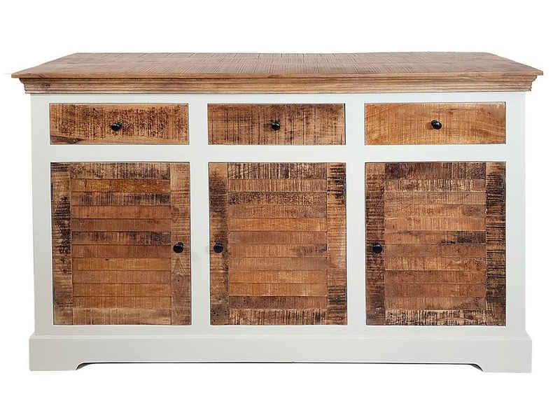 Casamia Sideboard »Sideboard Anrichte B 140 H 90 cm Kommode 3türig Ibiza Massivholz Mangoholz massiv weiß natur«