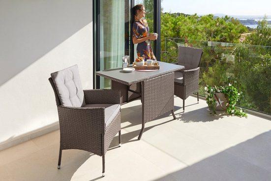 KONIFERA Gartenmöbelset »Mailand«, (7-tlg), 2 Sessel, Tisch 112x65 cm, Polyrattan