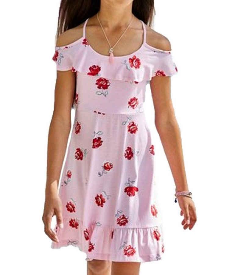 Sommerkleid »ARIZONA Stretch-Kleid süßes Mädchen Blumen-Kleid mit Cut-Outs Freizeit-Kleid Rosa«