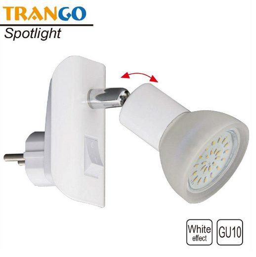 TRANGO LED Steckdosenleuchte, 11-046 LED Steckerlicht in weiß mit Lampenschirm aus Glas, Stecker-Nachtlicht inkl. 1x GU10 LED Leuchtmittel 3000K warmweiß & Ein/Aus- Schalter Leselampe, Küchenlampe