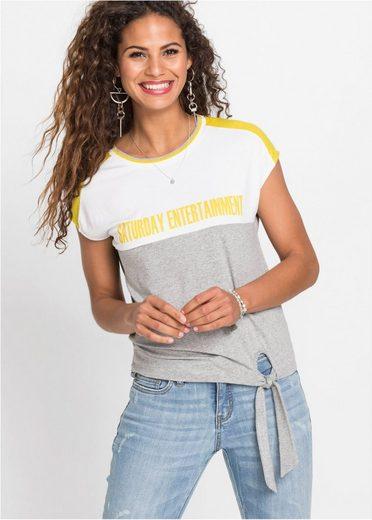 bonprix T-Shirt »Stylishes Colour-Blocking-Shirt mit Schnürung am Saum«