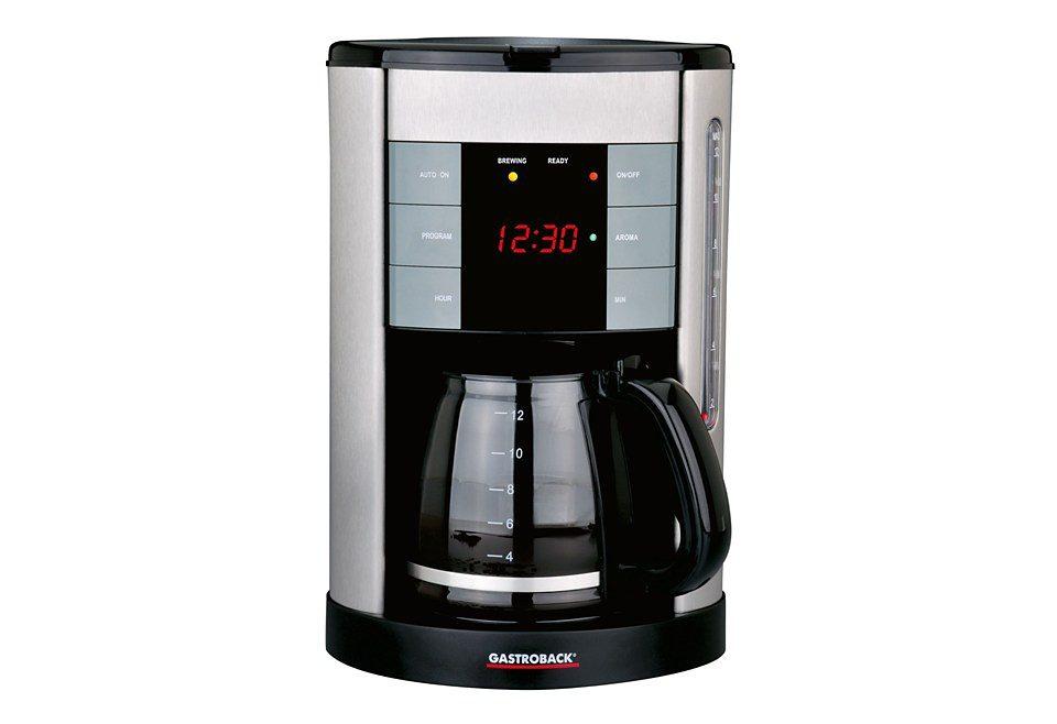 Gastroback Kaffeemaschine Design Coffee Aroma Plus, für 12 Tassen, 950 Watt, silber/schwarz