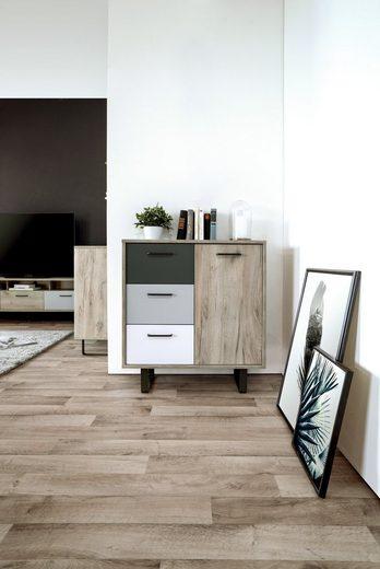 Newroom Sideboard, Sideboard Eiche Grau Weiß Optik Modern Skandinavisch Highboard Anrichte Wohnzimmer