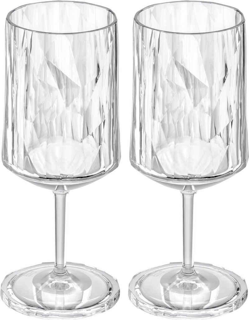 KOZIOL Weinglas »CLUB No. 4«, Kunststoff, tolles Facettendesign, unzerbrechlich, 100% recycelbar, made in Germany, spülmaschinengeeignet, 300ml, 2er-Set