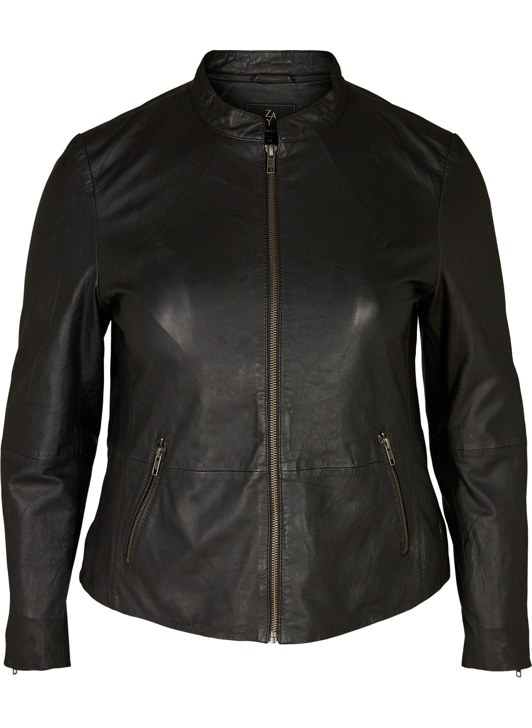 ZAY Lederjacke Große Größen Damen Schlichte Lederjacke mit Reissverschluss und Taschen online kaufen | OTTO