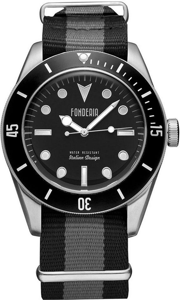 fonderia -  Quarzuhr »UAP8A002UNN  Herren Uhr P-8A002UNN Textil«, (Analoguhr), Herren Armbanduhr rund, schwarz, grau, schwarz