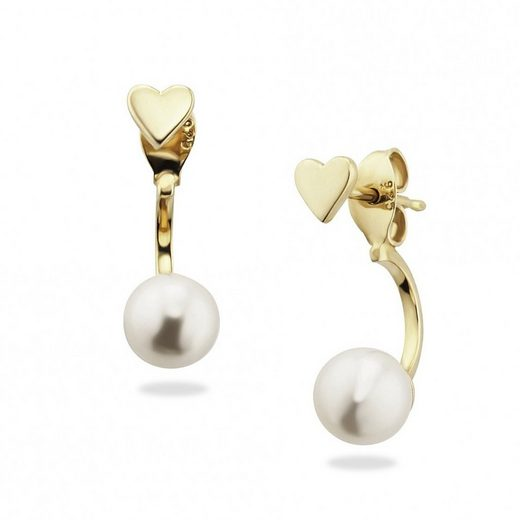CAÏ Ohrstecker »925/- Sterling Silber vergoldet Perle Herz«