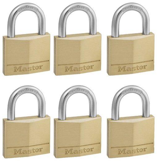 Master Lock Vorhängeschloss, Sicherheitsklasse 5, (Set, 6-tlg), Messing, gleichschließend