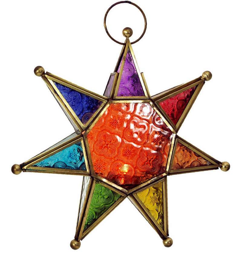 Guru-Shop Windlicht »Orientalische Glas Stern in marrokanischem..«