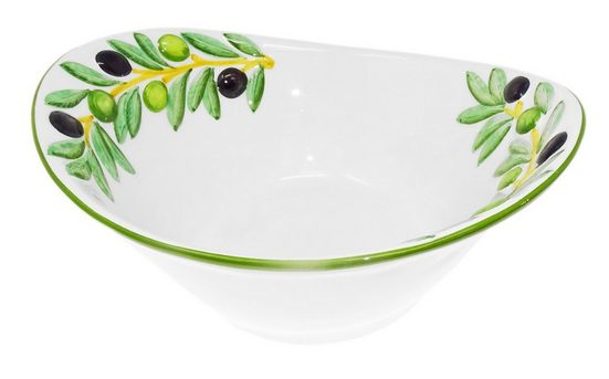 Lashuma Salatschüssel »Olive«, Keramik, (Packung, 1-tlg), Ovale Keramikschüssel, Servierschale 25x21 cm