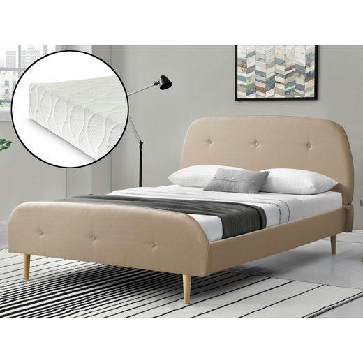 Corium Polsterbett, »Albufeira« Bettgestell Ehebett aus Leinen mit Kaltschaummatratze in verschiedenen Farben und Größen