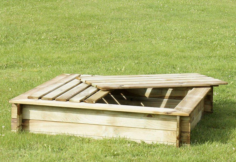 Dein Spielplatz Sandkasten mit Abdeckung aus Holz 140x140 cm in natur