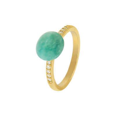 Zeeme Fingerring »925/- Sterling Silber vergoldet Amazonit Zirkonia«