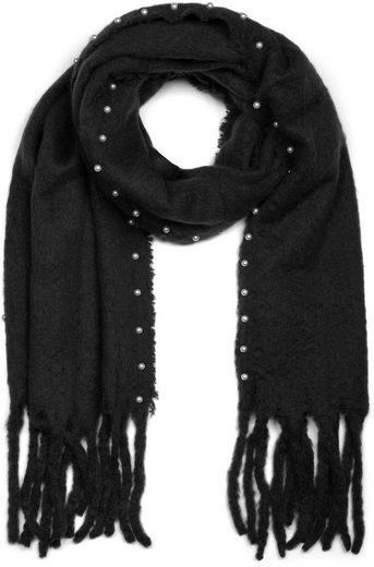 styleBREAKER Schal »Web Schal mit Perlen und Fransen« Web Schal mit Perlen und Fransen