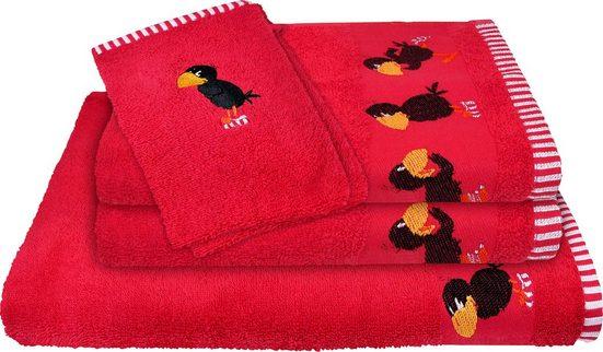 Handtuch Set »Rabe Socke« (5-tlg), Jacquardbordüre mit Stickerei