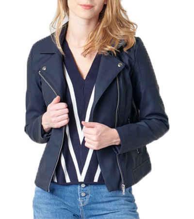 Only Bikerjacke »ONLY Melanie Biker-Jacke elegante Damen Lederimitat-Jacke Freizeit-Jacke mit Reverskragen Dunkelblau«