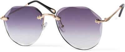 styleBREAKER Sonnenbrille »Rahmenlose Piloten Sonnenbrille mit Diamant Schliff« Getönt
