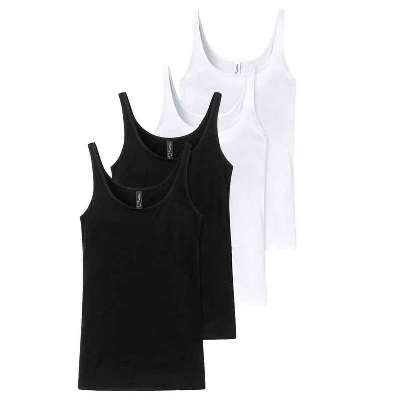 Schiesser Unterhemd »4er Pack Cotton Essentials« (4 Stück), Trägertop - Weiche und flache Nähte, Angenehme Träger, Single Jersey aus hochwertiger Baumwolle