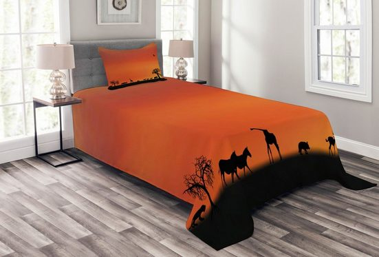 Tagesdecke »Set mit Kissenbezügen Waschbar«, Abakuhaus, Tier Safari Sonnenuntergang mit Gull