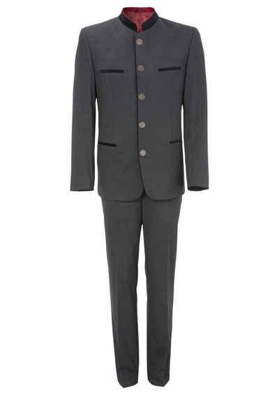 Murk Anzug (Set) Herren, mit Stehkragen und Paspeltaschen in Samtoptik