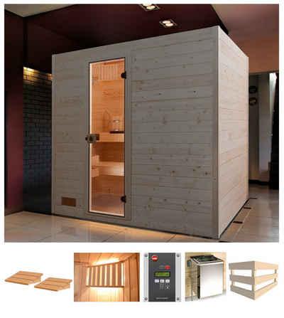 weka Sauna »Vaasa 3«, BxTxH: 239 x 189 x 203,5 cm, 38 mm, 7,5 kW Ofen mit ext. Steuerung