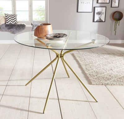 Glastisch »Silvi«, rund, Ø 110 cm, Metallgestell in messingfarben