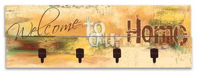 Artland Garderobenpaneel »Willkommen in unserem Zuhause«, platzsparende Wandgarderobe aus Holz mit 4 Haken, geeignet für kleinen, schmalen Flur, Flurgarderobe