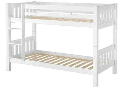 ERST-HOLZ Etagenbett »Schönes Kinderstockbett Kiefer Massivholz weiß 90x200cm Kinderzimmer Etagenbett Rollrost 60.06-09W«