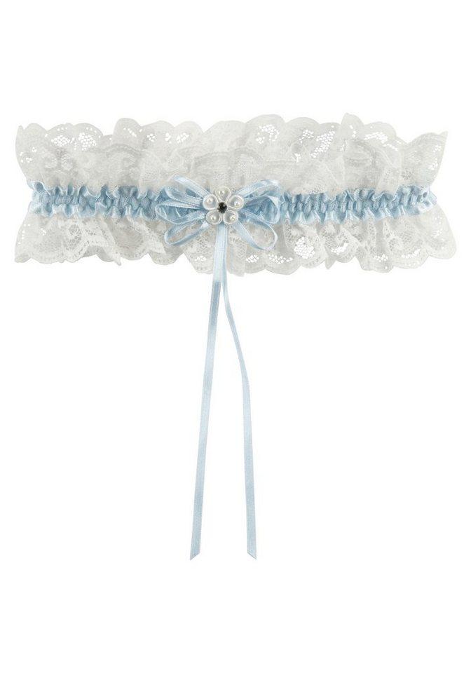 Strumpfband mit weißer Spitze in blau-weiß