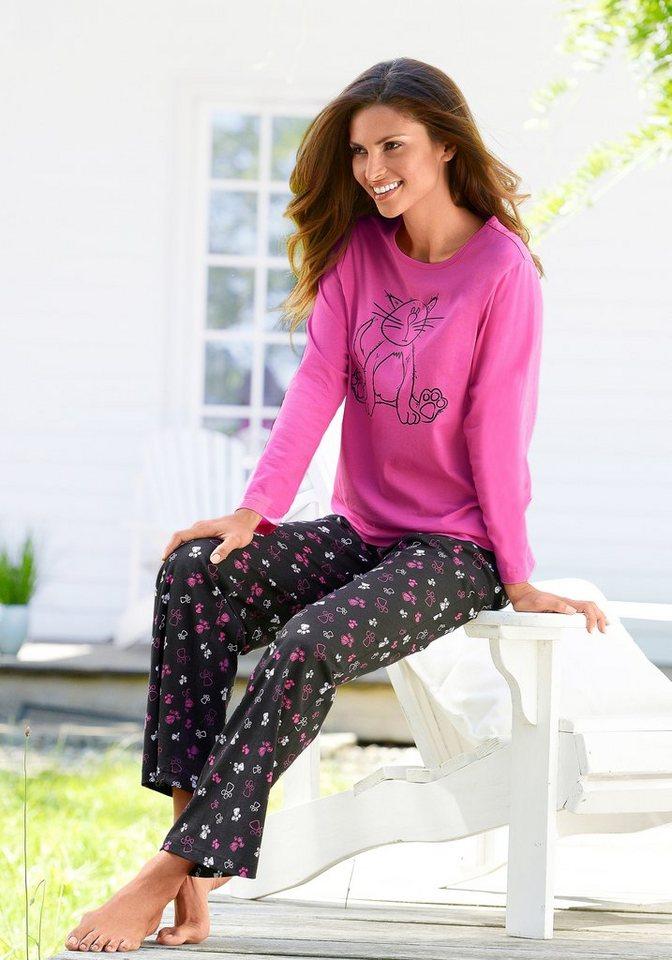 Vivance Dreams Pyjama mit Allover-Katzenprint in pink-schwarz