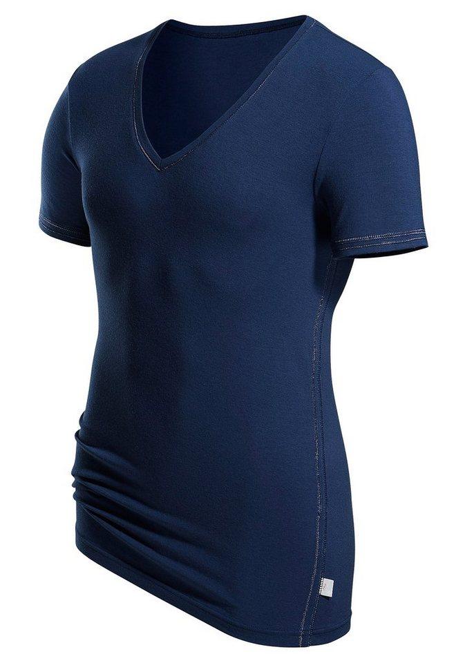 s.Oliver RED LABEL Bodywear V-Shirt Markenwäsche in perfekter Passform glänzende Ziernähte in blau
