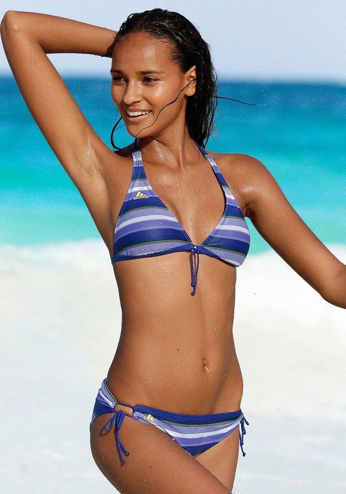 adidas Performance Triangel-Bikini in blau gestreift