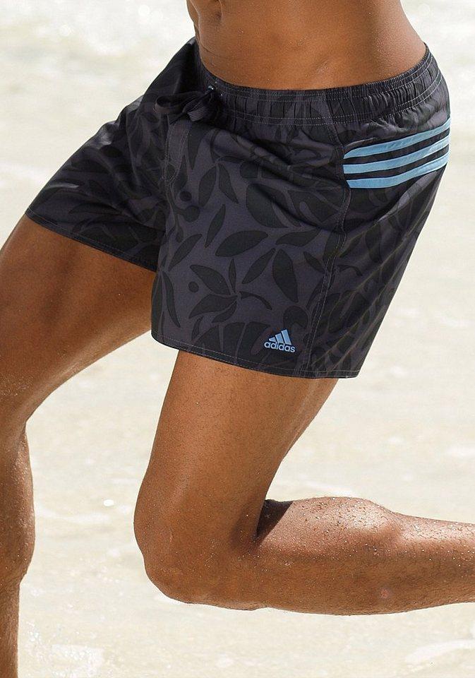 adidas Performance Badeshorts mit Gesäßtasche rechts in schwarz bedruckt